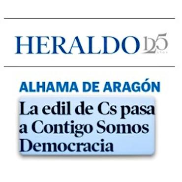 La concejal de Alhama de Aragón abandona Ciudadanos y se afilia a CONTIGO