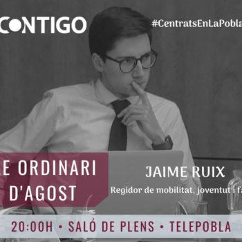 Jaime Ruix, Pleno Ordinario de Agosto de 2020 del Ayuntamiento de La Pobla de Vallbona