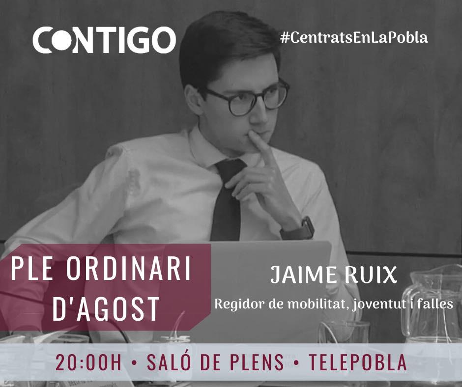 Intervención de Jaime Ruiz en el Pleno de Agosto del Ayuntamiento de la Pobla sobre la ocupación ilegal de propiedades privadas.